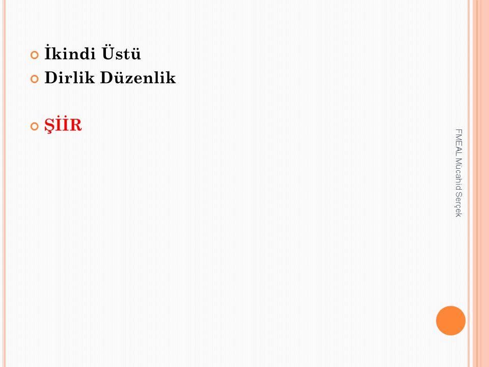 İkindi Üstü Dirlik Düzenlik ŞİİR FMEAL Mücahid Serçek
