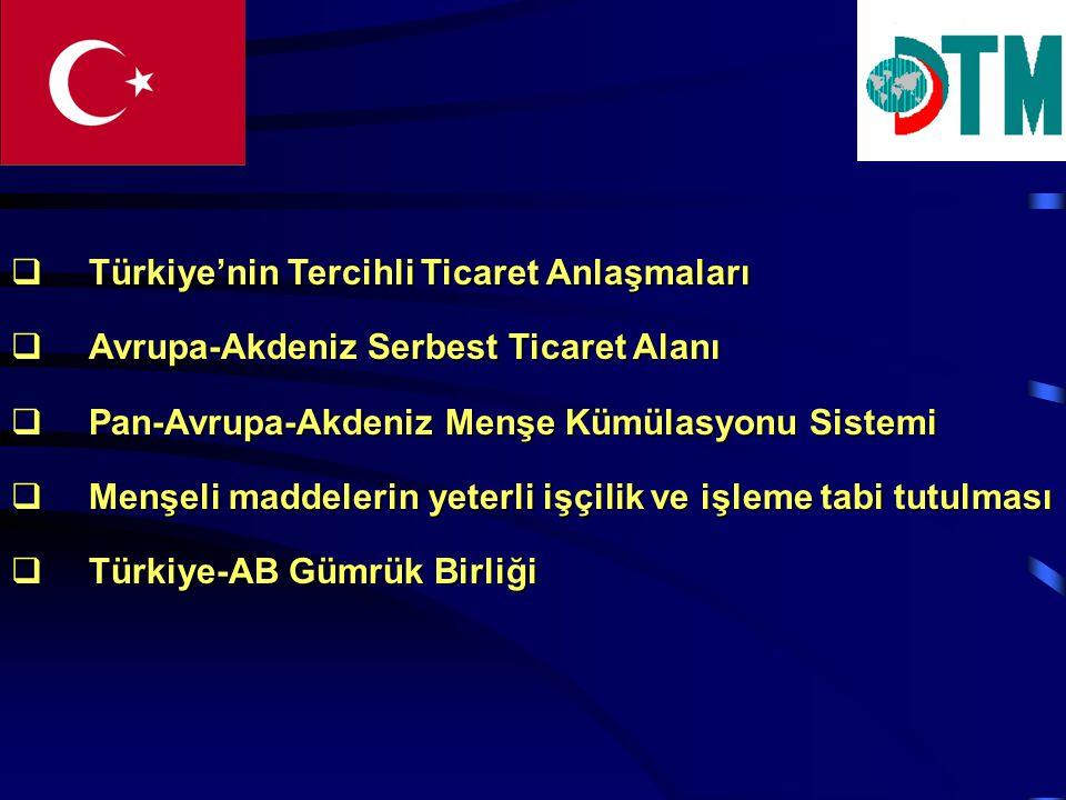 Türkiye'nin Tercihli Ticaret Anlaşmaları