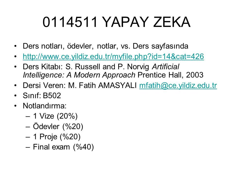 0114511 YAPAY ZEKA Ders notları, ödevler, notlar, vs. Ders sayfasında