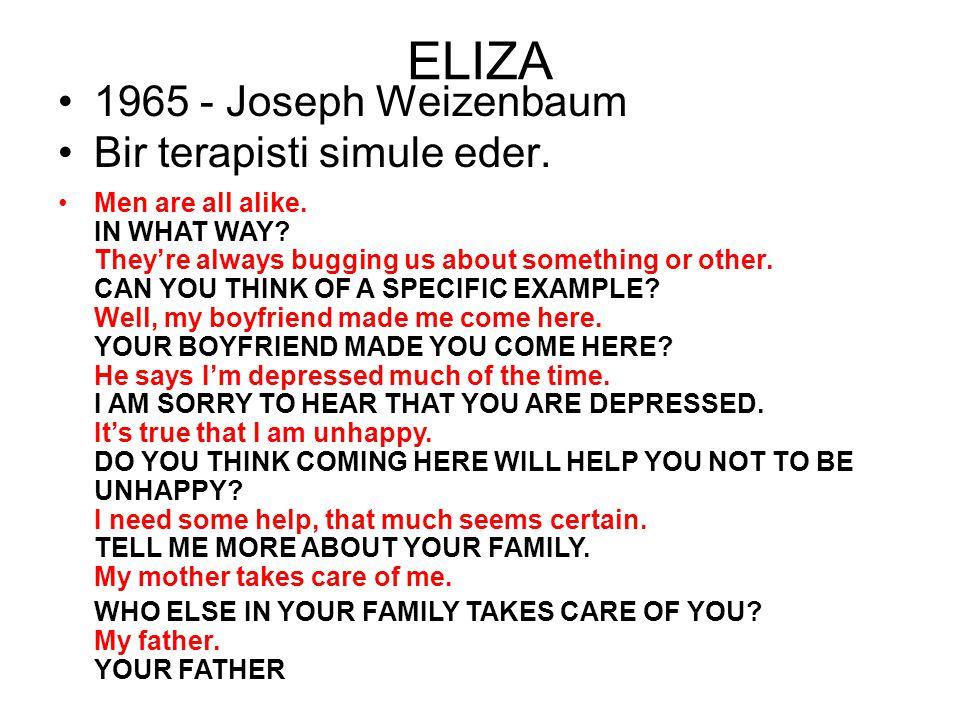 ELIZA 1965 - Joseph Weizenbaum Bir terapisti simule eder.