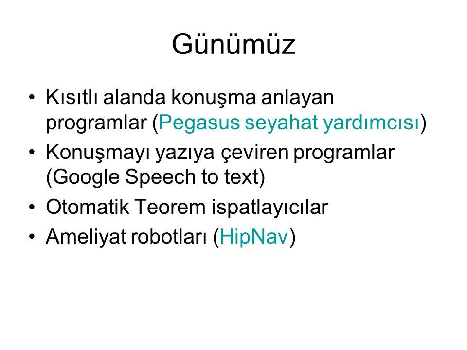 Günümüz Kısıtlı alanda konuşma anlayan programlar (Pegasus seyahat yardımcısı) Konuşmayı yazıya çeviren programlar (Google Speech to text)