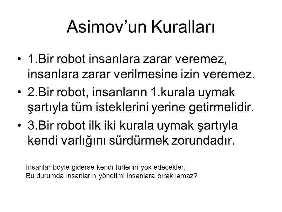 Asimov'un Kuralları 1.Bir robot insanlara zarar veremez, insanlara zarar verilmesine izin veremez.