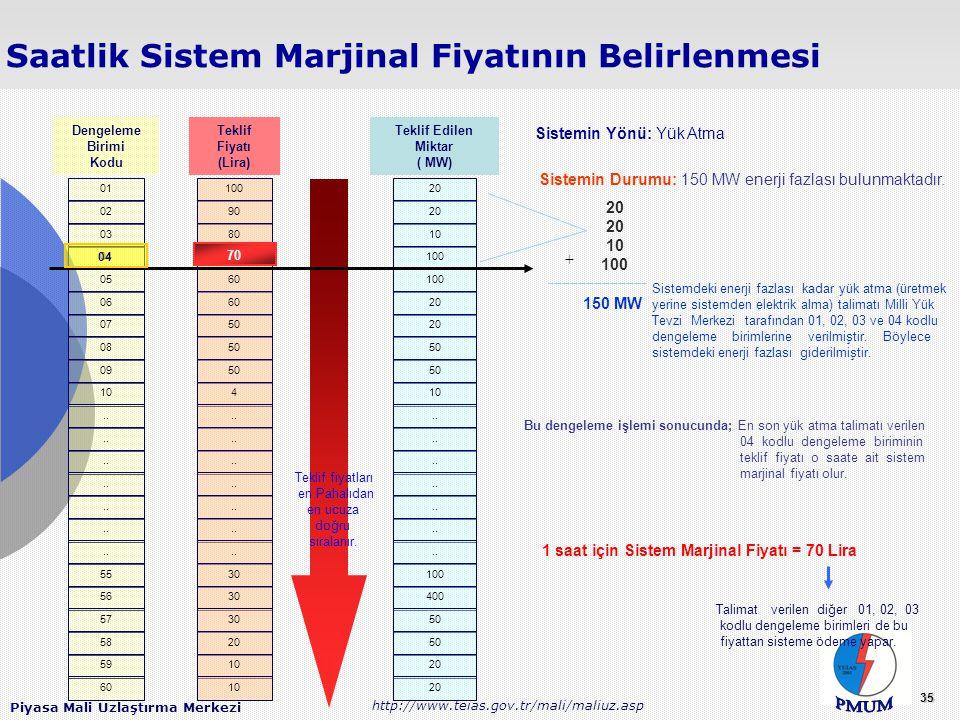 1 saat için Sistem Marjinal Fiyatı = 70 Lira