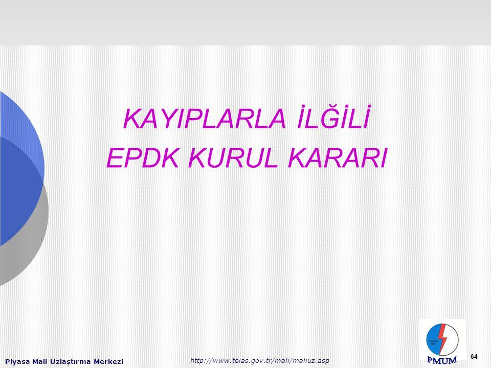KAYIPLARLA İLĞİLİ EPDK KURUL KARARI