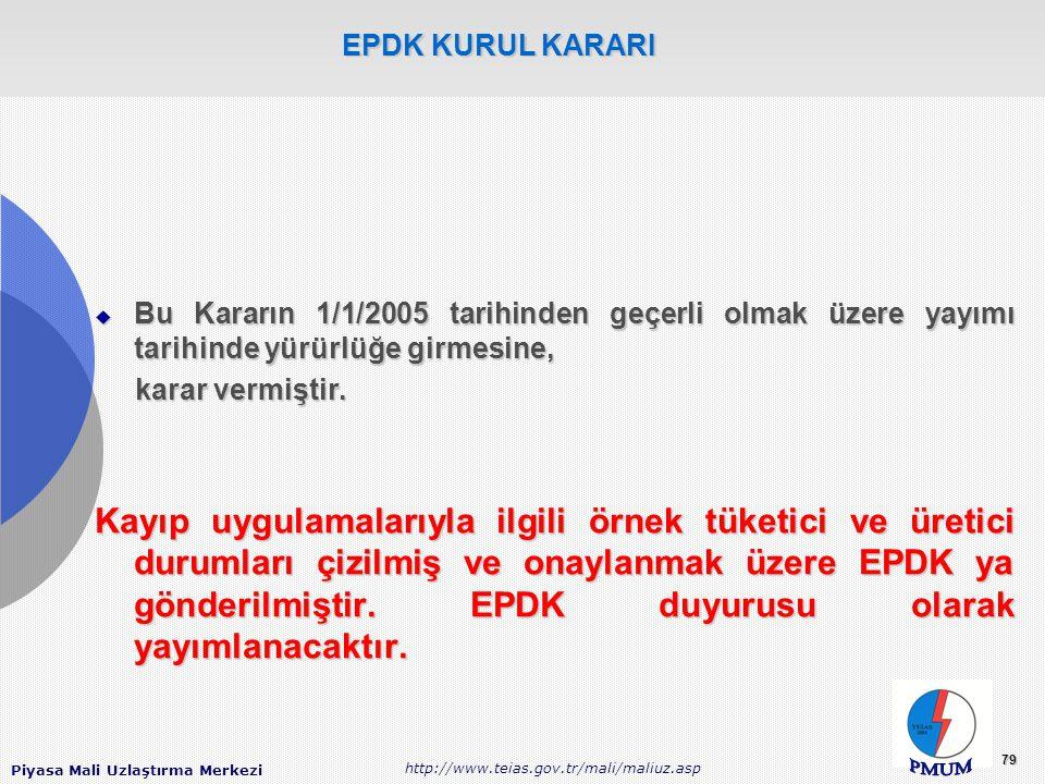 EPDK KURUL KARARI Bu Kararın 1/1/2005 tarihinden geçerli olmak üzere yayımı tarihinde yürürlüğe girmesine,