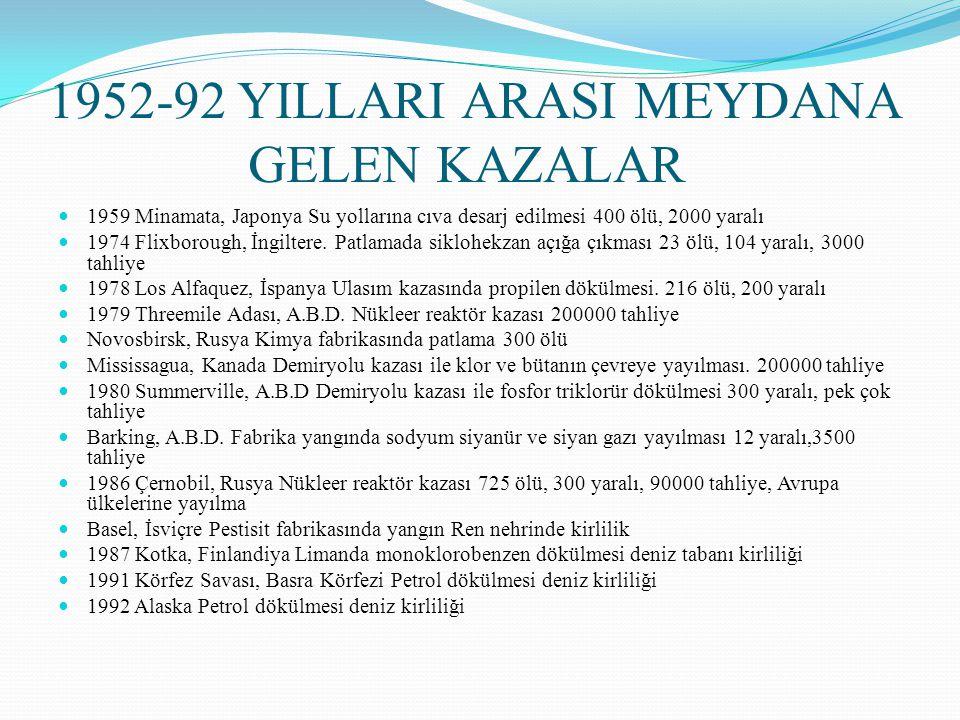 1952-92 YILLARI ARASI MEYDANA GELEN KAZALAR