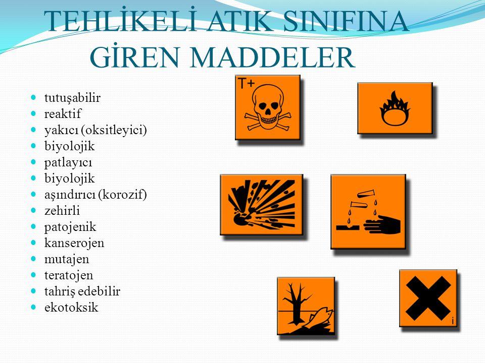 TEHLİKELİ ATIK SINIFINA GİREN MADDELER