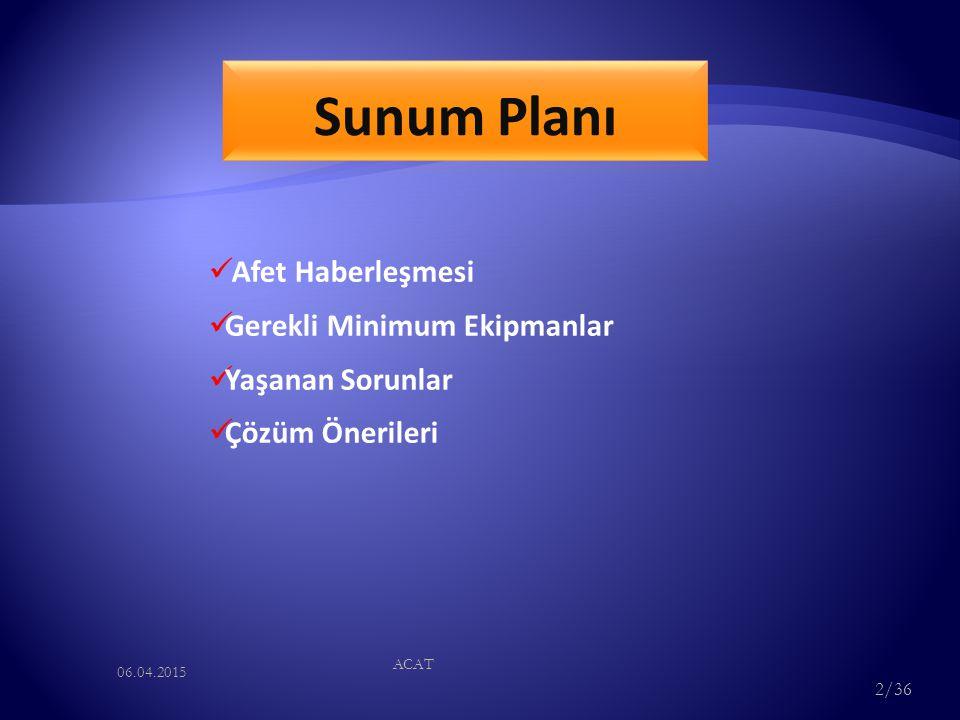 Sunum Planı Afet Haberleşmesi Gerekli Minimum Ekipmanlar