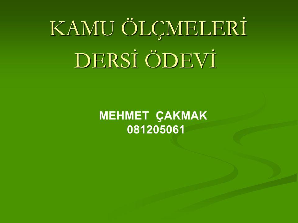 KAMU ÖLÇMELERİ DERSİ ÖDEVİ MEHMET ÇAKMAK 081205061