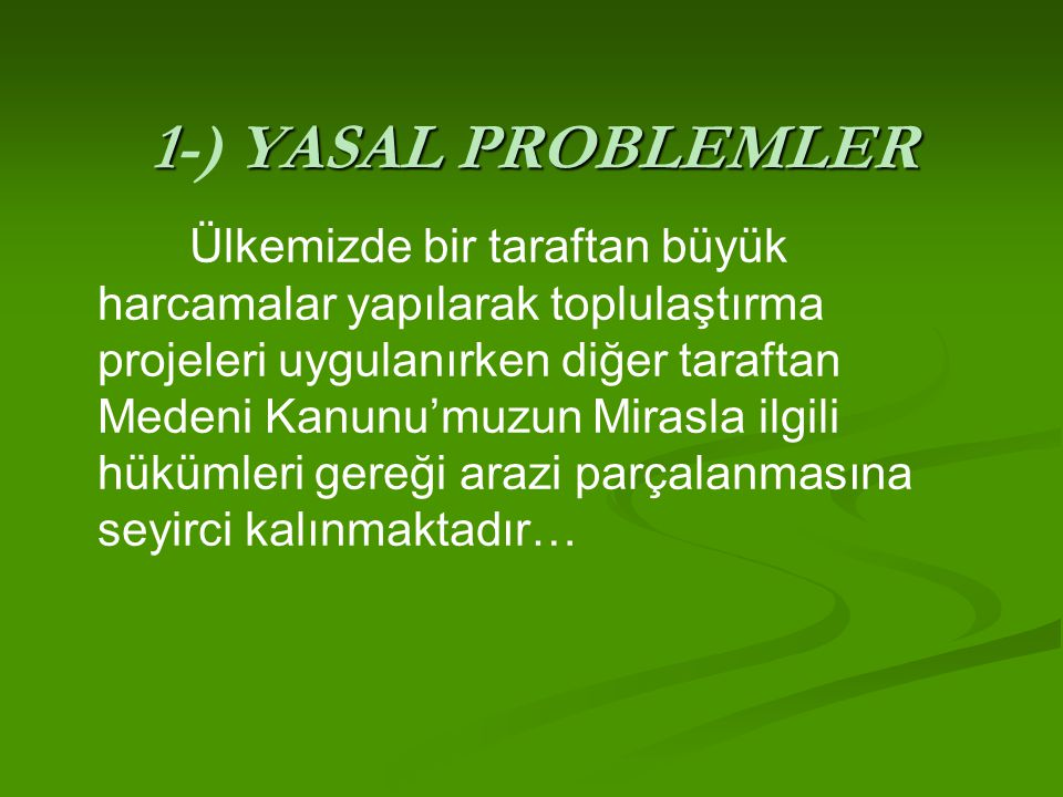 1-) YASAL PROBLEMLER