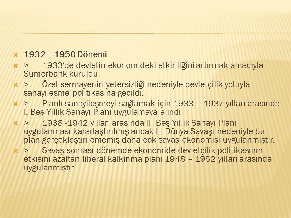 1932 – 1950 Dönemi > 1933′de devletin ekonomideki etkinliğini artırmak amacıyla Sümerbank kuruldu.