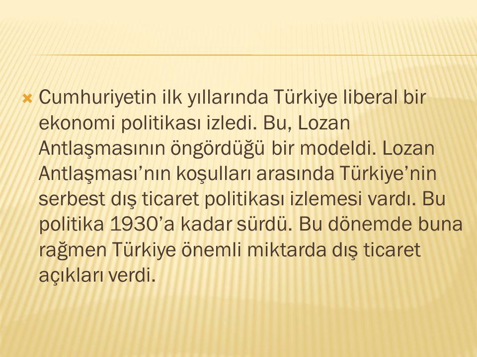 Cumhuriyetin ilk yıllarında Türkiye liberal bir ekonomi politikası izledi.