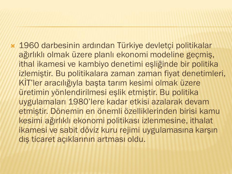 1960 darbesinin ardından Türkiye devletçi politikalar ağırlıklı olmak üzere planlı ekonomi modeline geçmiş, ithal ikamesi ve kambiyo denetimi eşliğinde bir politika izlemiştir.