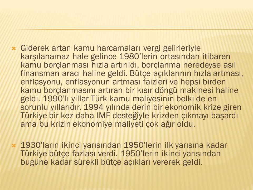 Giderek artan kamu harcamaları vergi gelirleriyle karşılanamaz hale gelince 1980'lerin ortasından itibaren kamu borçlanması hızla artırıldı, borçlanma neredeyse asıl finansman aracı haline geldi. Bütçe açıklarının hızla artması, enflasyonu, enflasyonun artması faizleri ve hepsi birden kamu borçlanmasını artıran bir kısır döngü makinesi haline geldi. 1990'lı yıllar Türk kamu maliyesinin belki de en sorunlu yıllarıdır. 1994 yılında derin bir ekonomik krize giren Türkiye bir kez daha IMF desteğiyle krizden çıkmayı başardı ama bu krizin ekonomiye maliyeti çok ağır oldu.