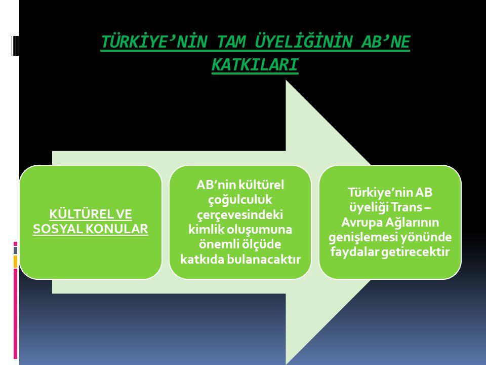 TÜRKİYE'NİN TAM ÜYELİĞİNİN AB'NE KATKILARI
