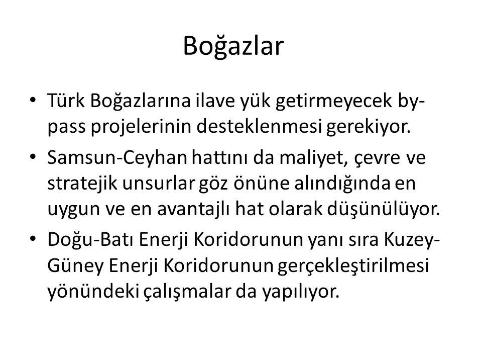 Boğazlar Türk Boğazlarına ilave yük getirmeyecek by-pass projelerinin desteklenmesi gerekiyor.