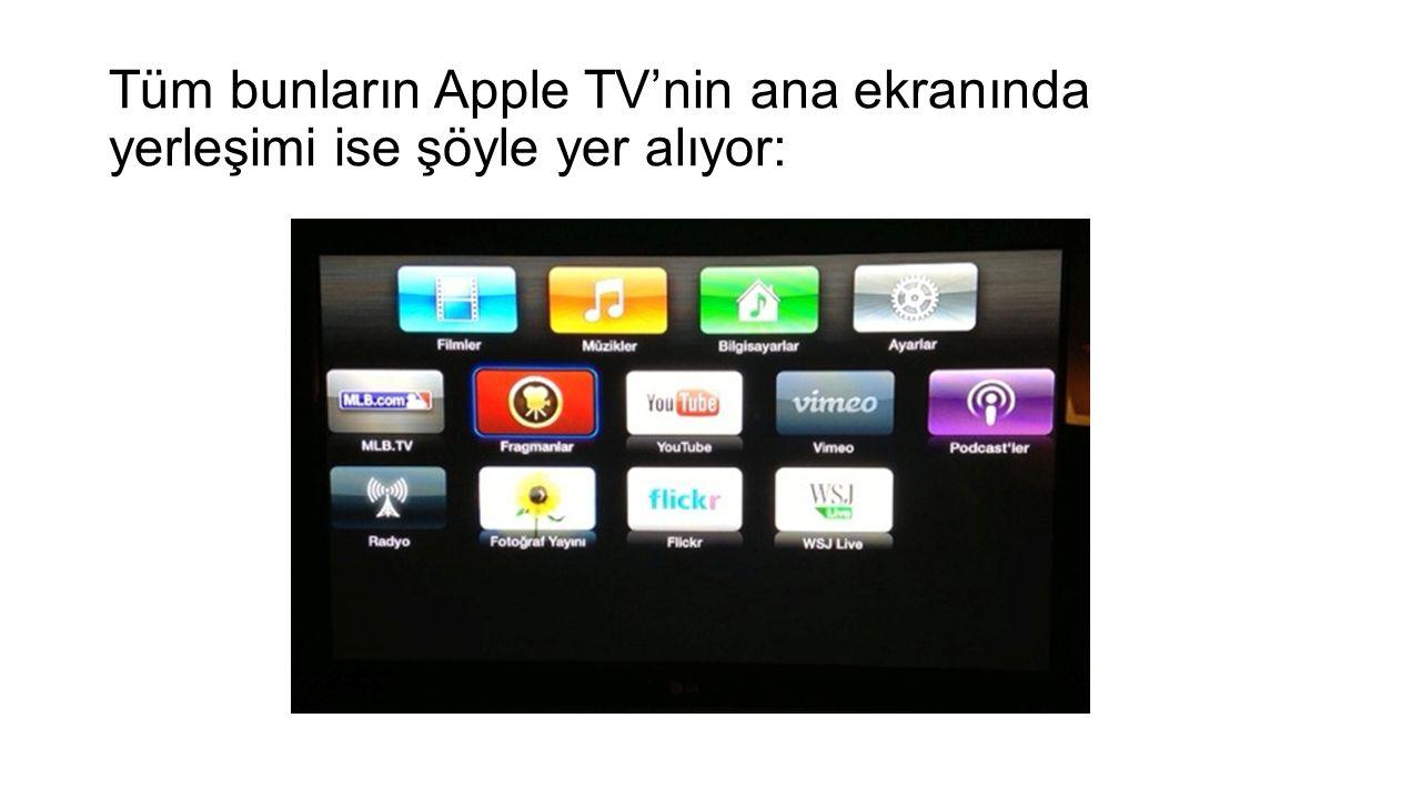 Tüm bunların Apple TV'nin ana ekranında yerleşimi ise şöyle yer alıyor: