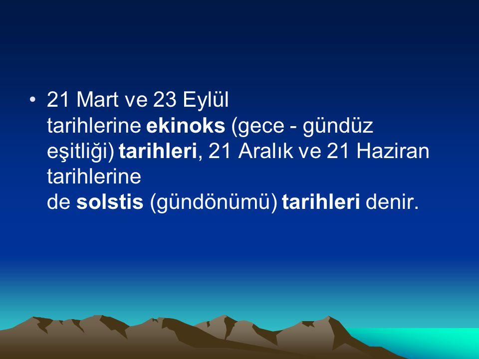 21 Mart ve 23 Eylül tarihlerine ekinoks (gece - gündüz eşitliği) tarihleri, 21 Aralık ve 21 Haziran tarihlerine de solstis (gündönümü) tarihleri denir.
