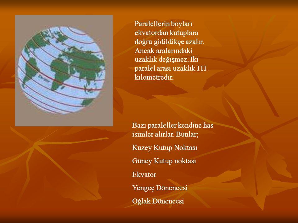 Paralellerin boyları ekvatordan kutuplara doğru gidildikçe azalır