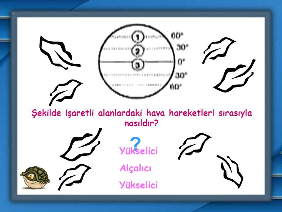 Şekilde işaretli alanlardaki hava hareketleri sırasıyla nasıldır