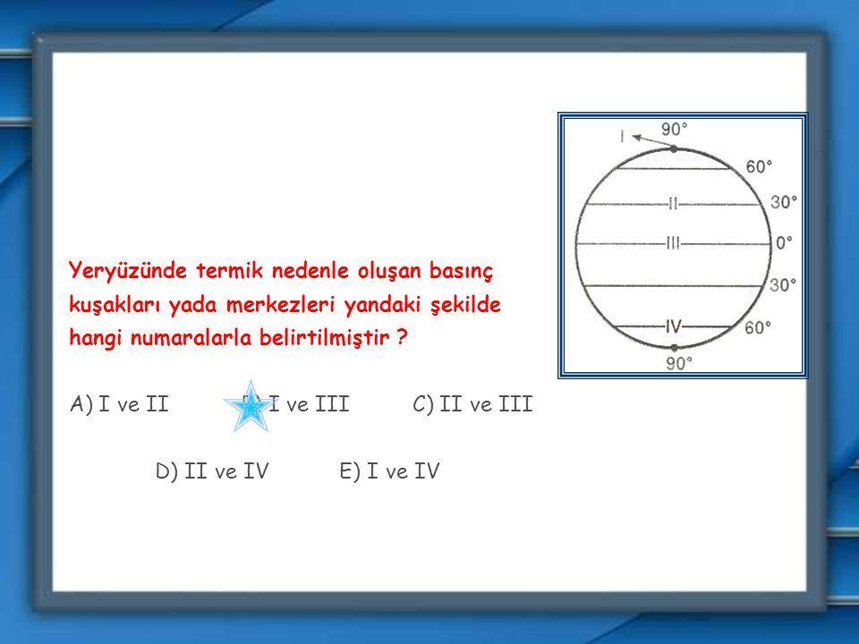 Yeryüzünde termik nedenle oluşan basınç kuşakları yada merkezleri yandaki şekilde hangi numaralarla belirtilmiştir