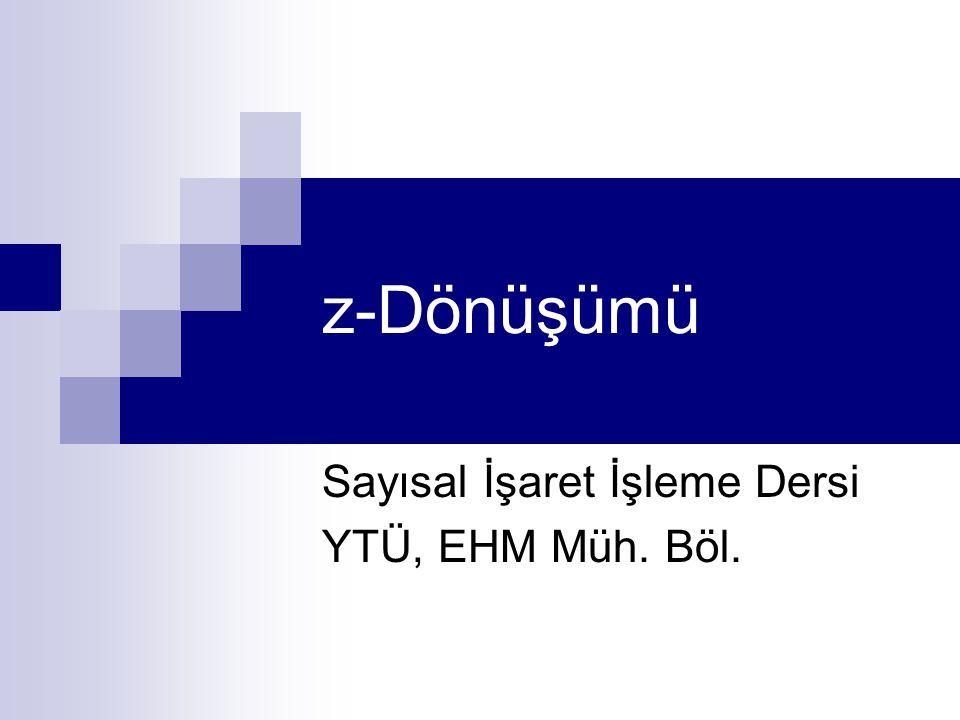Sayısal İşaret İşleme Dersi YTÜ, EHM Müh. Böl.