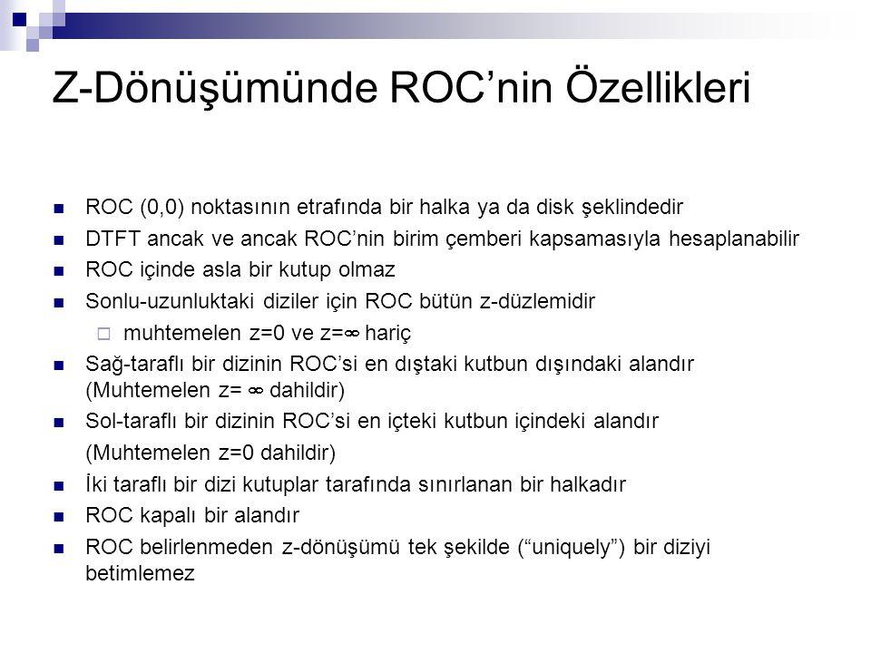 Z-Dönüşümünde ROC'nin Özellikleri