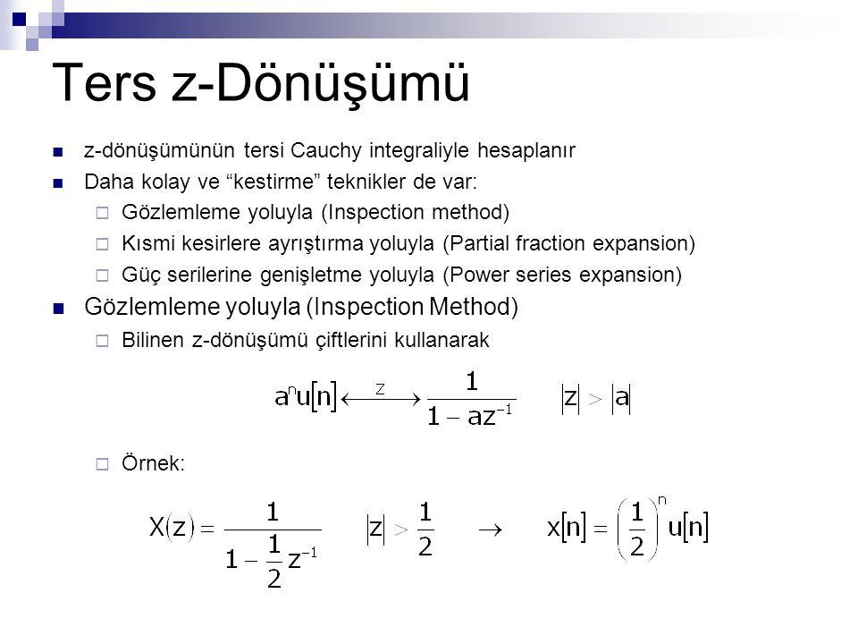 Ters z-Dönüşümü Gözlemleme yoluyla (Inspection Method)