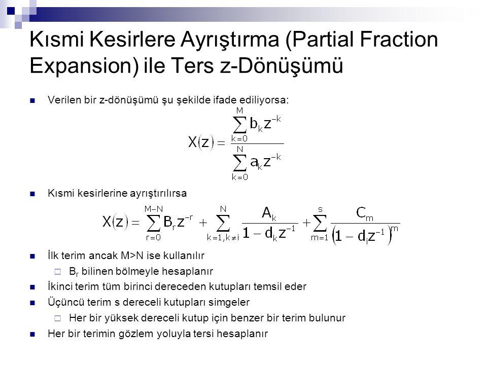 Kısmi Kesirlere Ayrıştırma (Partial Fraction Expansion) ile Ters z-Dönüşümü