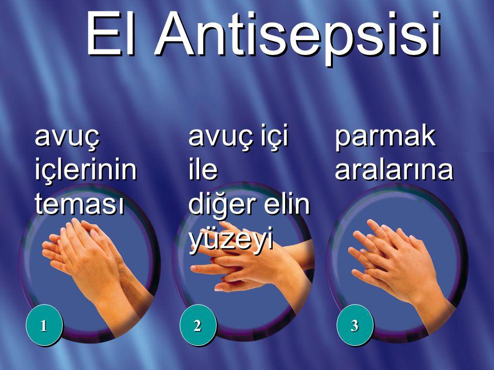 El Antisepsisi avuç içlerinin teması avuç içi ile diğer elin yüzeyi