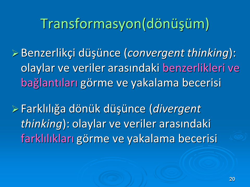 Transformasyon(dönüşüm)