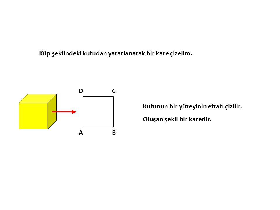 Küp şeklindeki kutudan yararlanarak bir kare çizelim.