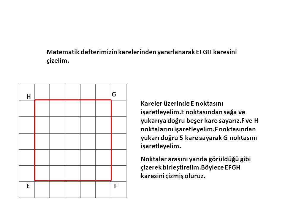 Matematik defterimizin karelerinden yararlanarak EFGH karesini çizelim.
