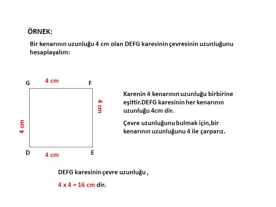 ÖRNEK: Bir kenarının uzunluğu 4 cm olan DEFG karesinin çevresinin uzunluğunu hesaplayalım: 4 cm. D.