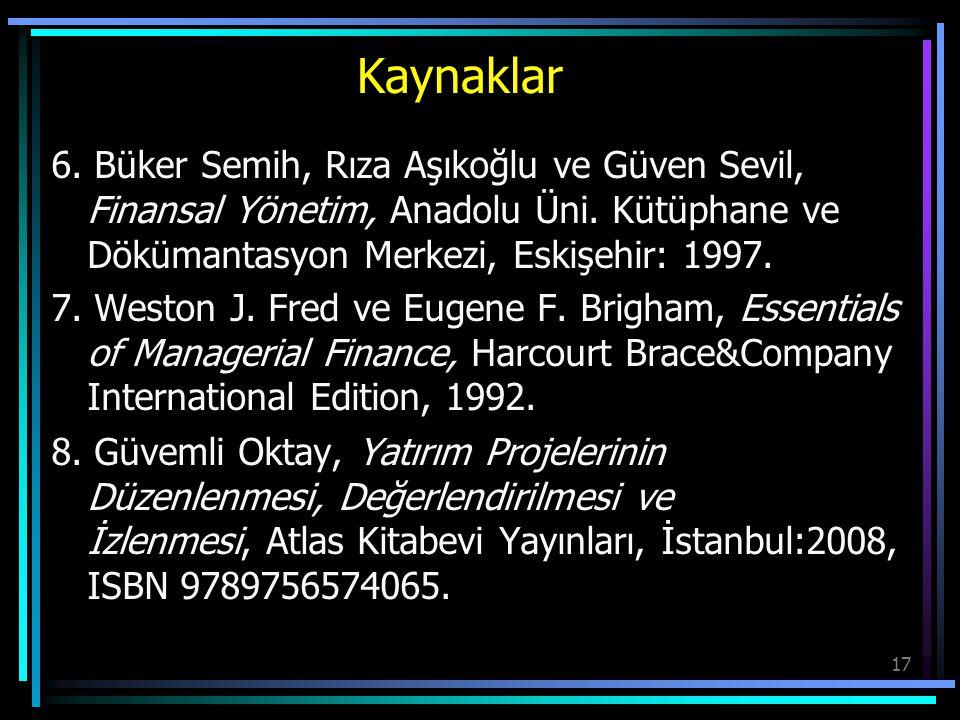 Kaynaklar 6. Büker Semih, Rıza Aşıkoğlu ve Güven Sevil, Finansal Yönetim, Anadolu Üni. Kütüphane ve Dökümantasyon Merkezi, Eskişehir: 1997.