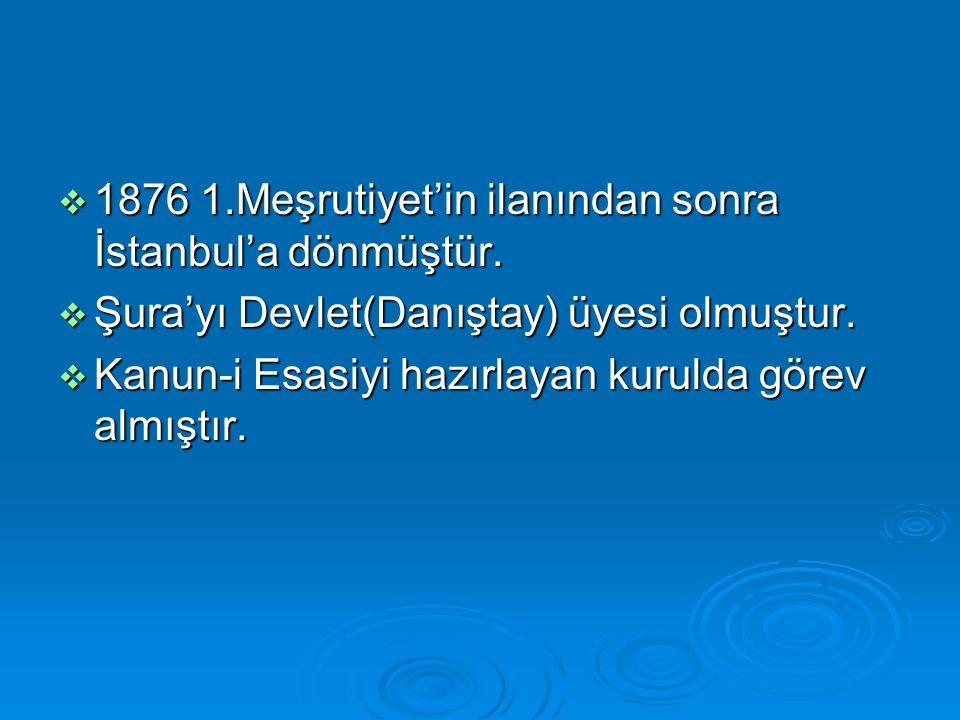 1876 1.Meşrutiyet'in ilanından sonra İstanbul'a dönmüştür.