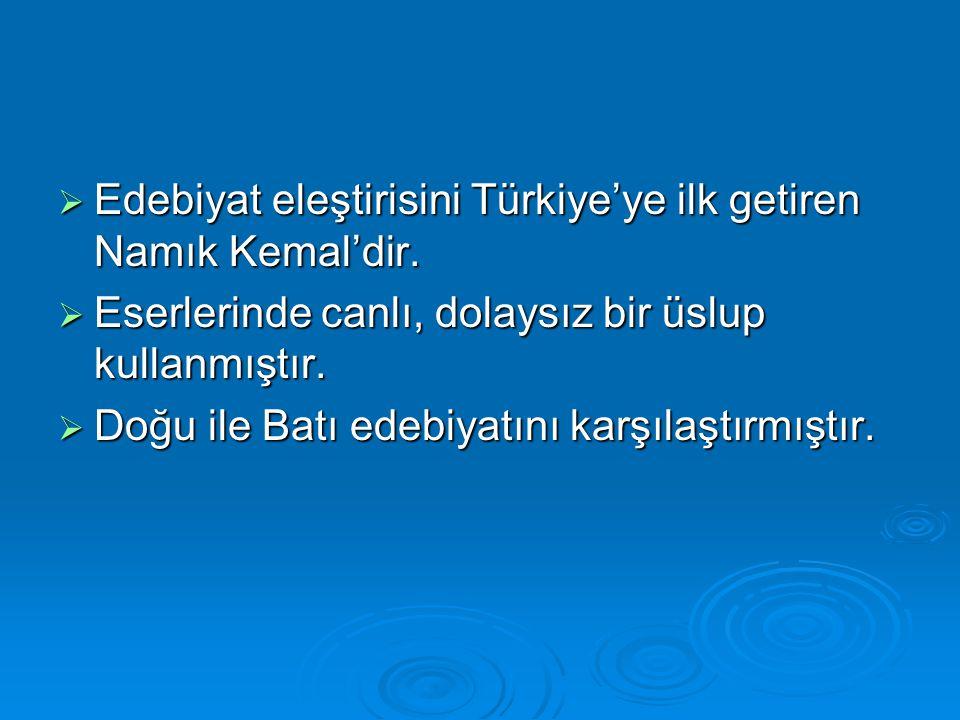 Edebiyat eleştirisini Türkiye'ye ilk getiren Namık Kemal'dir.