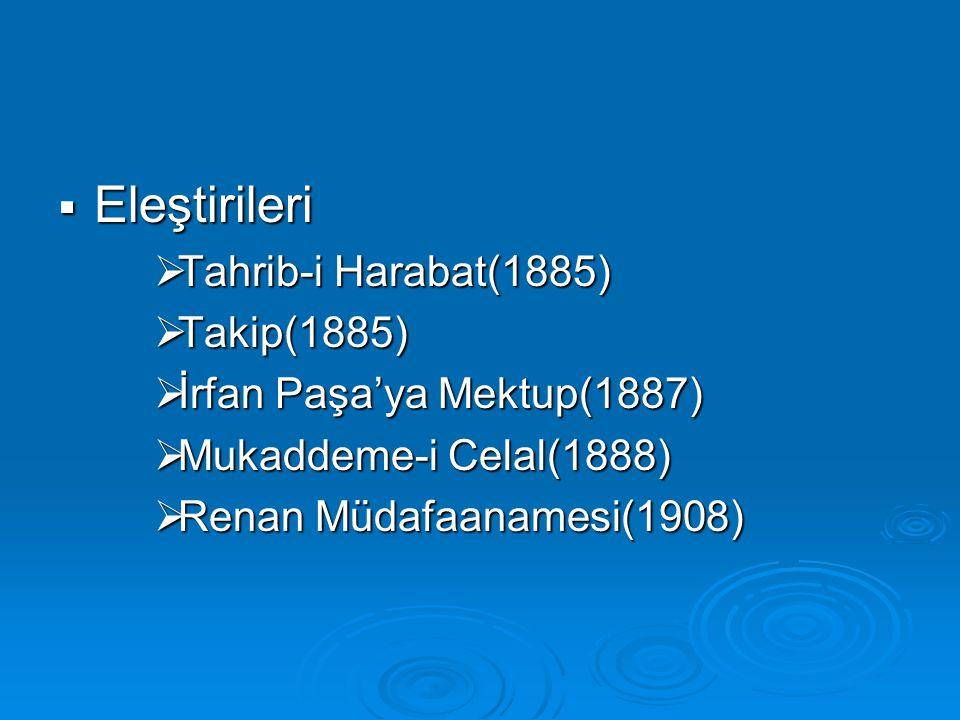 Eleştirileri Tahrib-i Harabat(1885) Takip(1885)