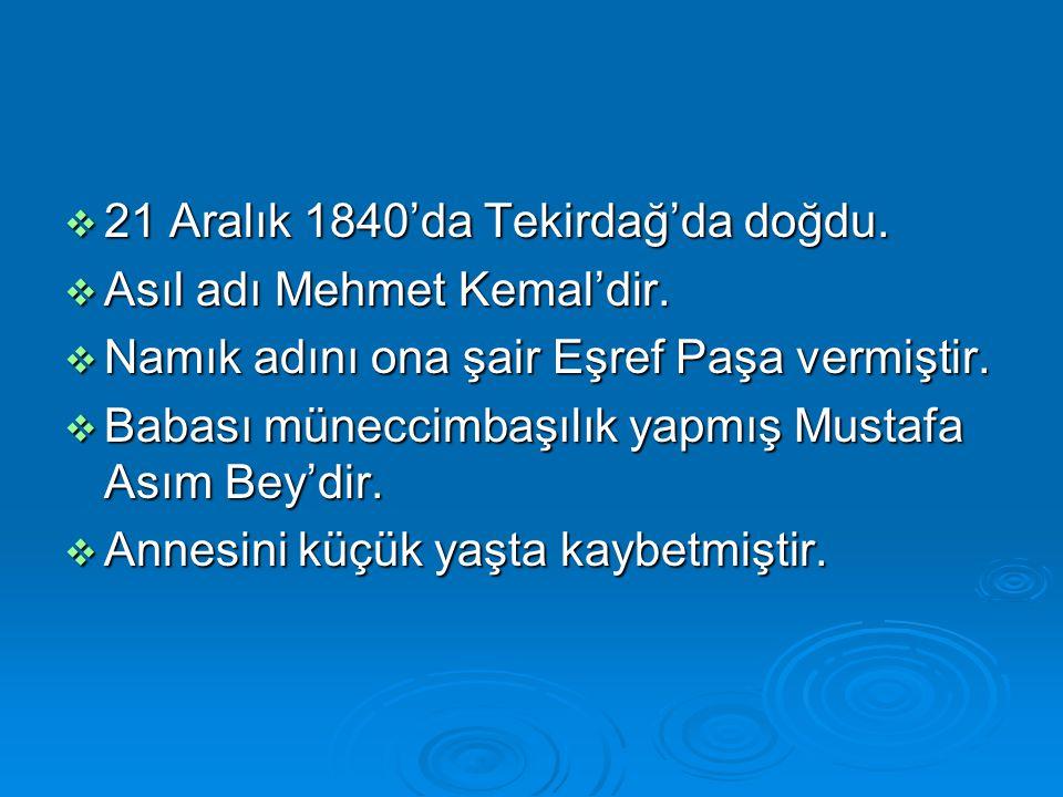 21 Aralık 1840'da Tekirdağ'da doğdu.