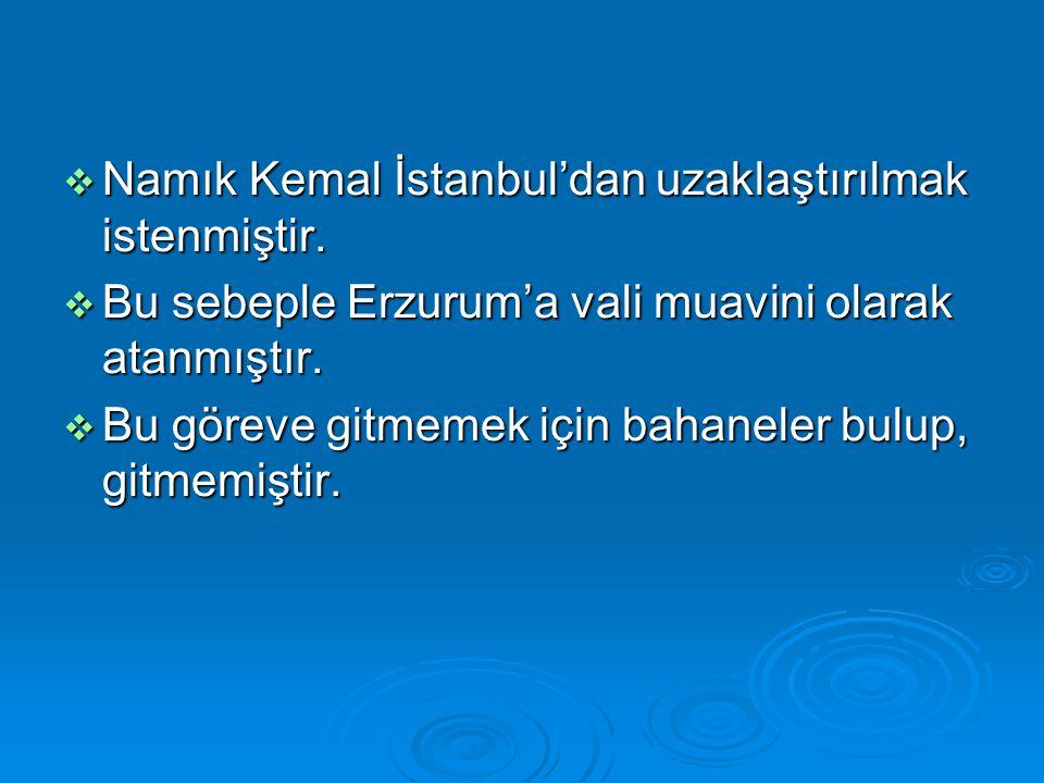 Namık Kemal İstanbul'dan uzaklaştırılmak istenmiştir.