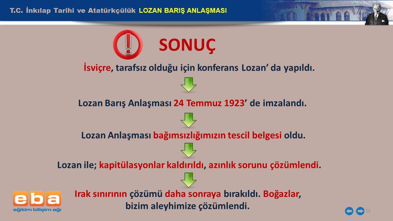 ! SONUÇ T.C. İnkılap Tarihi ve Atatürkçülük LOZAN BARIŞ ANLAŞMASI
