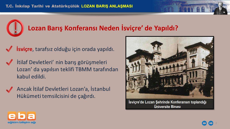 Lozan Barış Konferansı Neden İsviçre' de Yapıldı