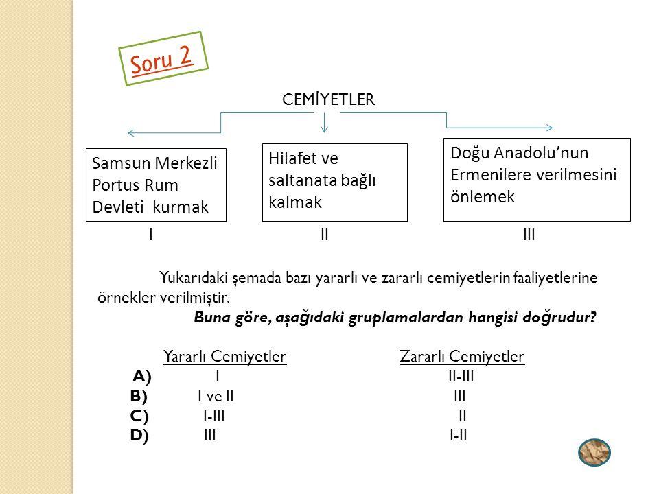 Soru 2 Doğu Anadolu'nun Ermenilere verilmesini önlemek