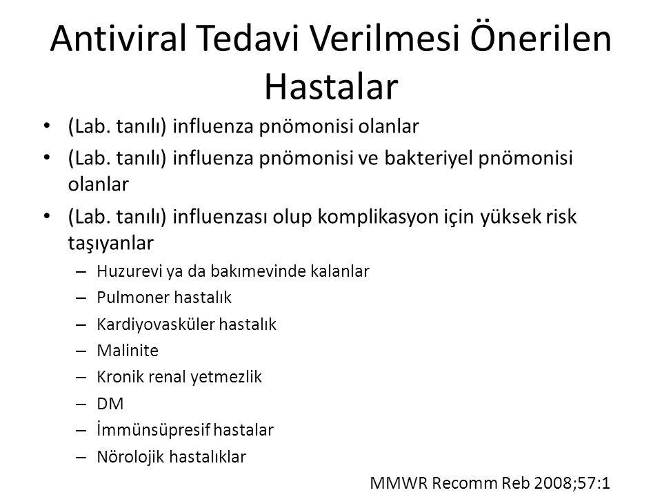 Antiviral Tedavi Verilmesi Önerilen Hastalar