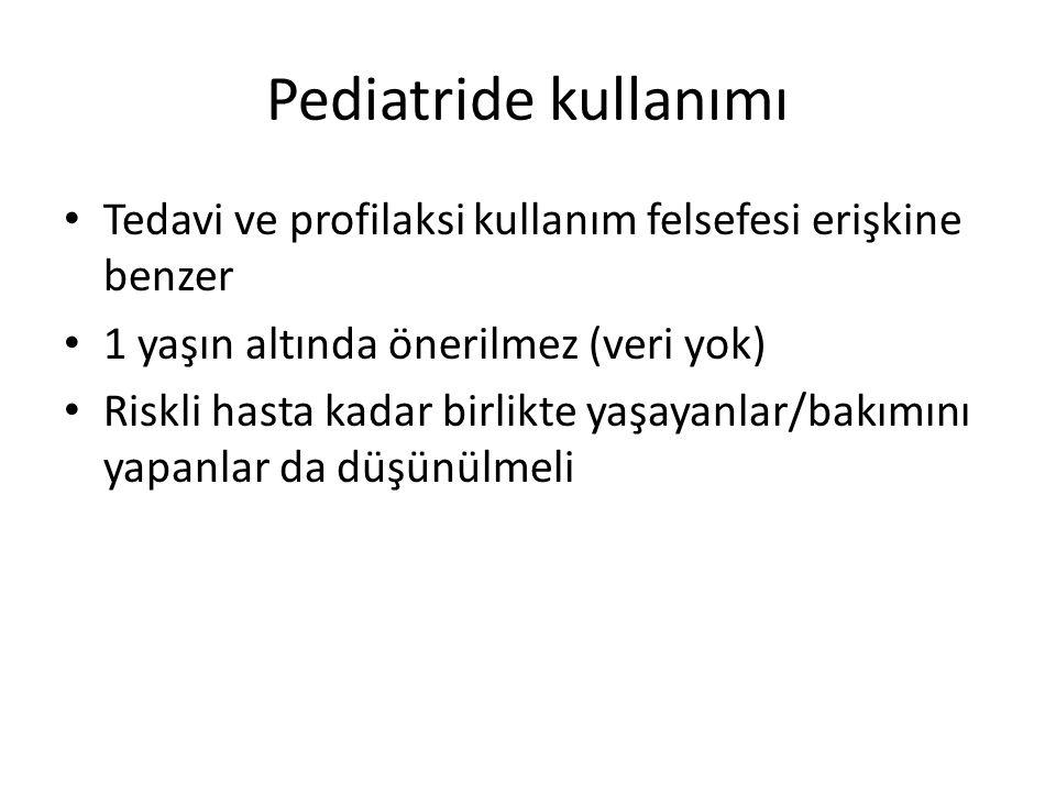Pediatride kullanımı Tedavi ve profilaksi kullanım felsefesi erişkine benzer. 1 yaşın altında önerilmez (veri yok)