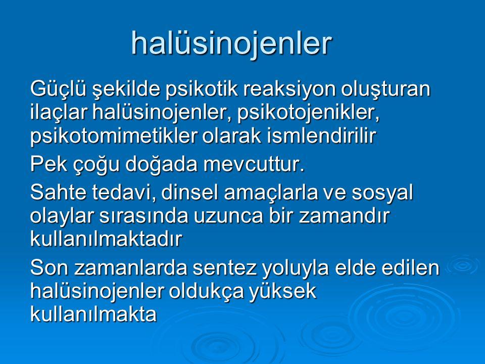 halüsinojenler Güçlü şekilde psikotik reaksiyon oluşturan ilaçlar halüsinojenler, psikotojenikler, psikotomimetikler olarak ismlendirilir.