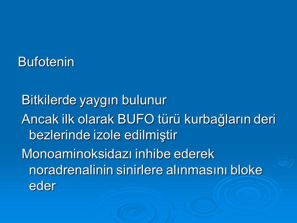 Bufotenin Bitkilerde yaygın bulunur. Ancak ilk olarak BUFO türü kurbağların deri bezlerinde izole edilmiştir.