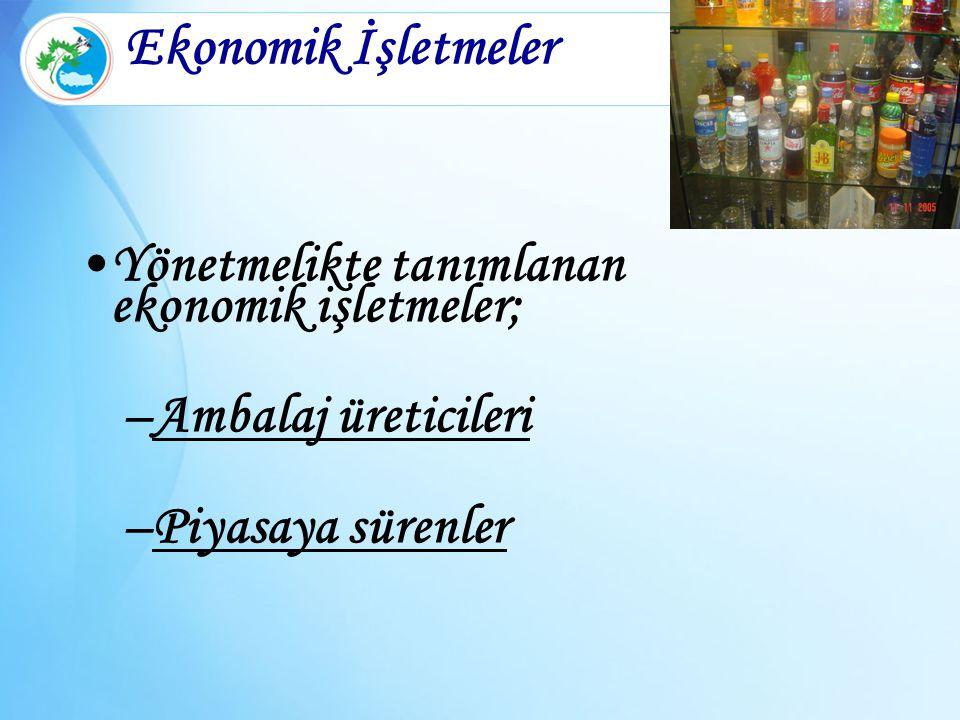 Ekonomik İşletmeler Yönetmelikte tanımlanan ekonomik işletmeler;