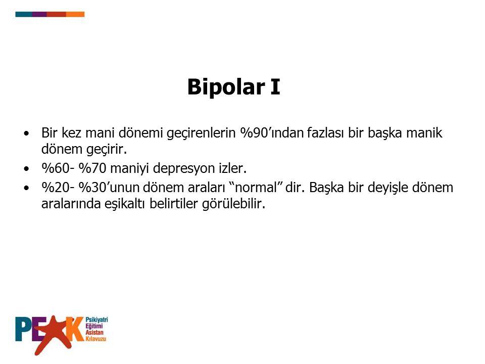 Bipolar I Bir kez mani dönemi geçirenlerin %90'ından fazlası bir başka manik dönem geçirir. %60- %70 maniyi depresyon izler.