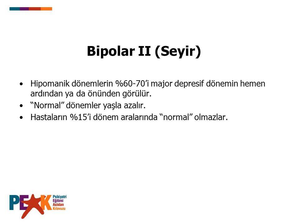 Bipolar II (Seyir) Hipomanik dönemlerin %60-70'i major depresif dönemin hemen ardından ya da önünden görülür.